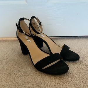 Report Payson Black Ankle Strap Heels
